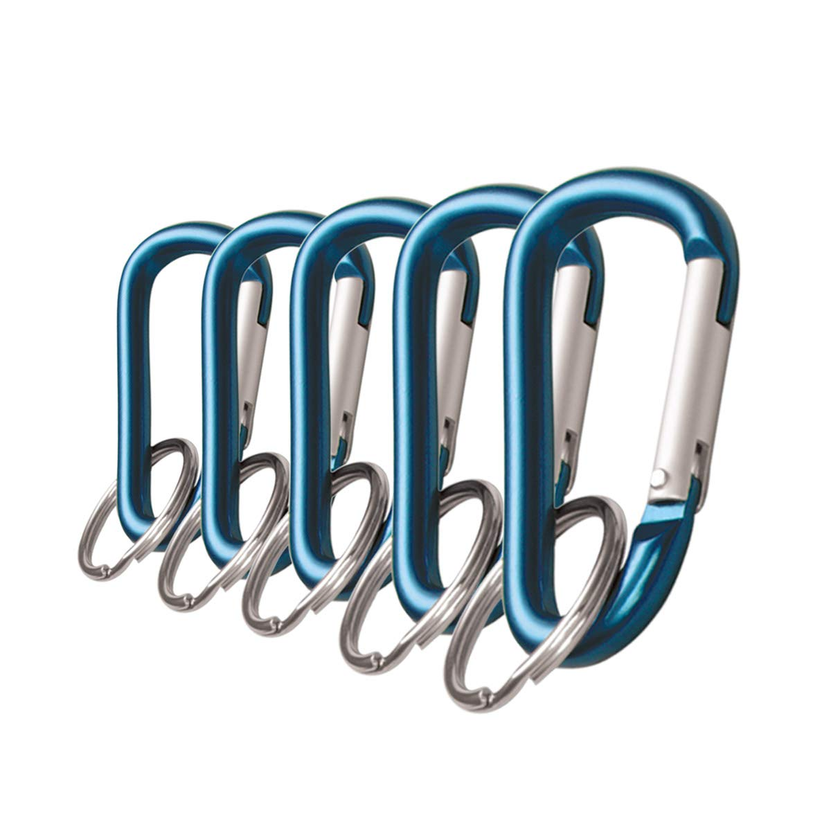 Lucky Line 4613005 Aluminum 3-1/8'' Carabiner Clip Set Snap Link Key Chain (5 per Pack), Blue