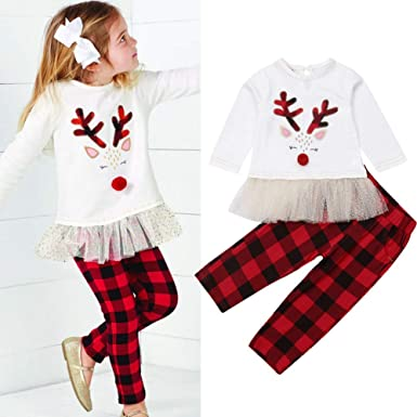 1936132a2ade Amazon.com  Little Girls Outfits Long Sleeve Fawn Tops + Red Plaid ...