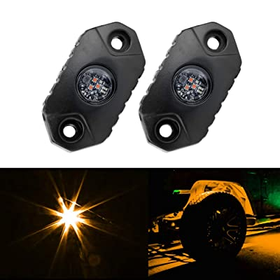 4WDKING Amber LED Rock Lights, 2 Pods IP68 Waterproof Underbody Glow Trail Rig Lamp LED Neon Lights for Truck Jeep Off Road Truck Car Boat ATV SUV Motorcycle: Automotive