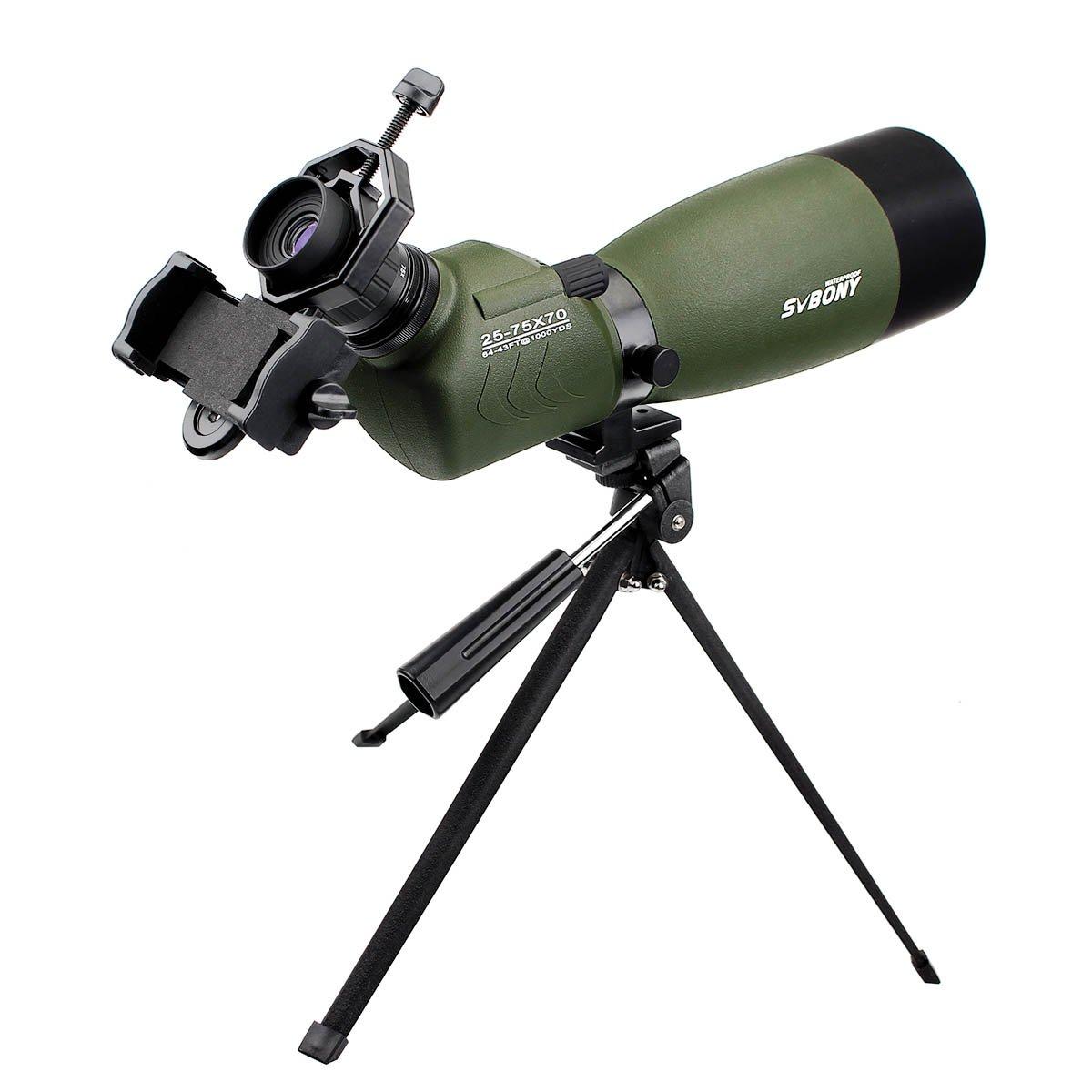 SVBONY 20-60x60/25-75x70mm Shooting Spotting Scope Bak4 Prism Spotting Scope Telescope IP65 Waterproof FMC Optical Lens with Tripod and Phone Adapter