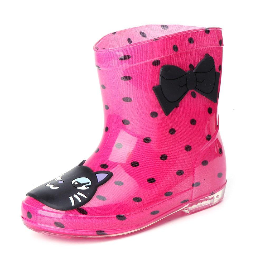 ヴァージニアウルフの家Kids Girl Boy Watertight通気性Cartoon Jelly Rainshoesノンスリップ雨ブート靴Mid Calfオーバーシューズ B074N5D666 9|レッド + ブラック レッド + ブラック 9