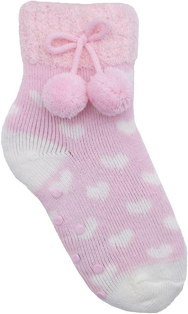 Girls Fair Isle Hearts Cosy Slipper Socks With Pom Poms SK376 Xmas Gift