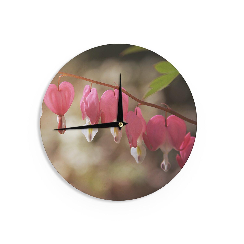 Kess InHouse Angie Turner Bleeding Hearts Pink Flower Wall Clock 12 Diameter