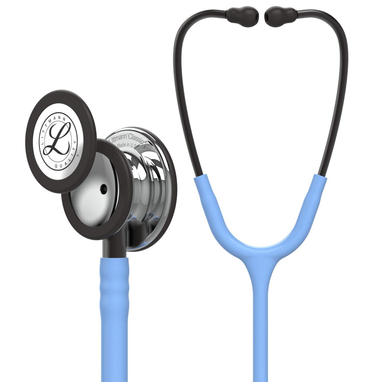3M Littmann Classic III - Fonendoscopio para monitorización, campana de acabado en espejo, tubo azul cielo y vástago y auricular color gris humo, 68.5cm, 5959