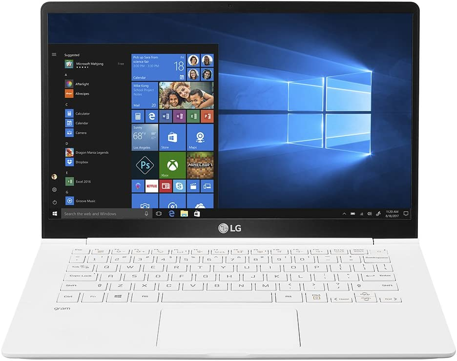 "LG gram Laptop - 14"" Full HD Display, Intel 8th Gen Core i5, 8GB RAM, 256GB SSD, 21.5 Hour Battery Life - 14Z980-U.AAW5U1 - White (2018)"