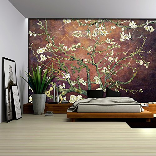 Copper with Rich Brown Vignette Almond Blossom by Vincent Van Gogh Wall Mural