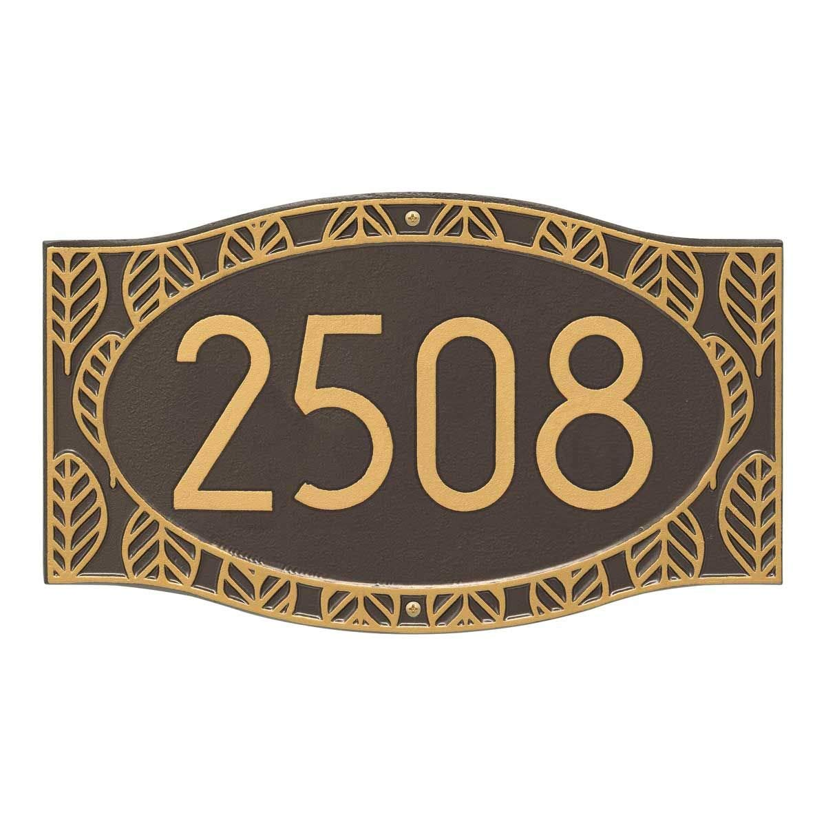Comfort House Metal Address Plaque - Decorative Leaf Border House Number Sign - Choose Your Color P3095