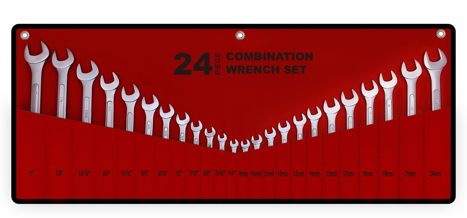 Best Value 24-Piece Master Combination Wrench Set with Roll-up Storage Pouch | SAE 1/4'' to 1'' & Metric 8mm to 24mm by EFFICERE