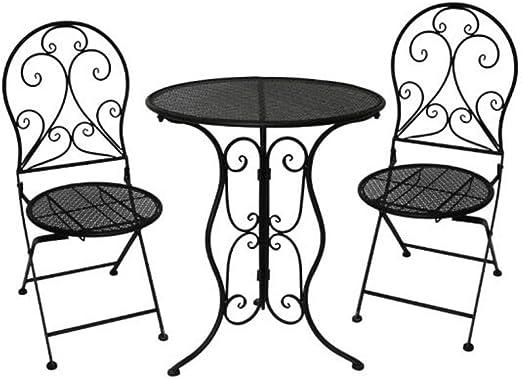 Mesas Plegables Sillas Mueble Pequeño Restaurante Al Aire Libre Patio Café Jardín Coctel Mesa Silla CJC (Color : Black): Amazon.es: Hogar