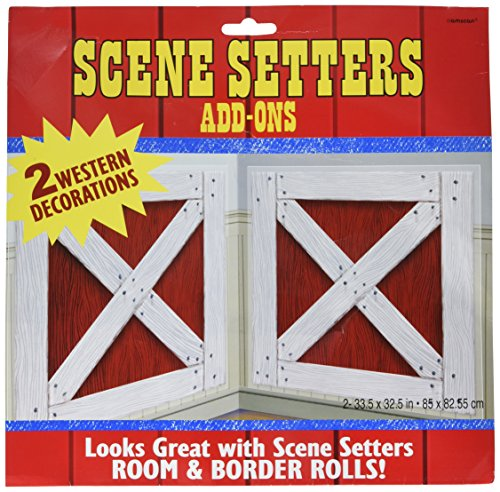 Amscan High Riding Western Party Barn Shutters Scene Setter Decorating Kit, 2 Pieces, Made from Paper, Red/White, 65