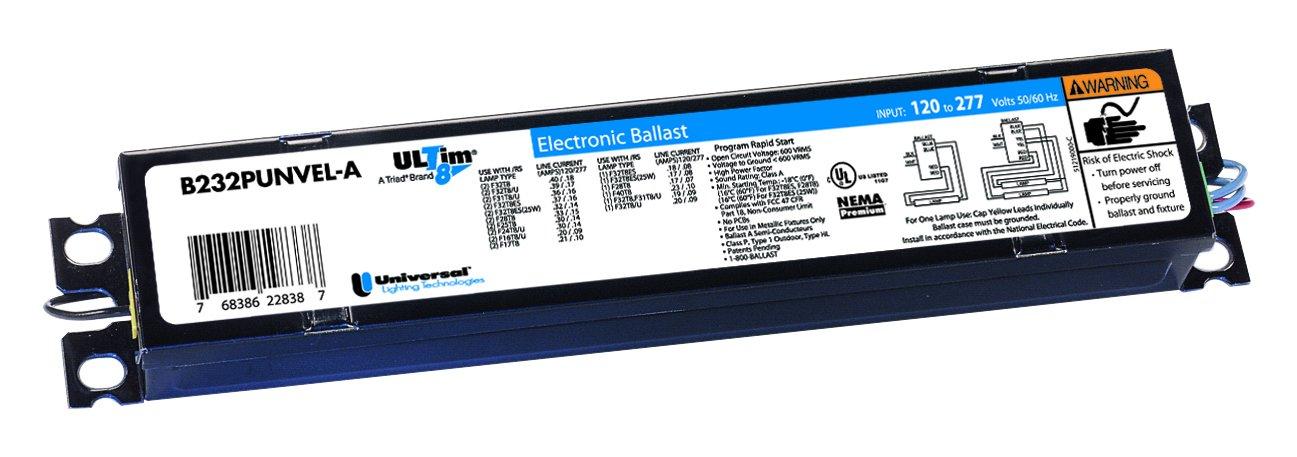Universal Lighting Technologies B332IUNVHP-A000I 8 Electronic Fluorescent Ballast, 108 - 305V AC/120 - 277V, 84W At 120V, 83W At 277V, 3-Lamp, Instant Start