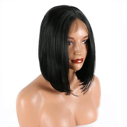 Peluca corta de pelo natural 1B color negro resistente al calor de encaje sintético para arrastre