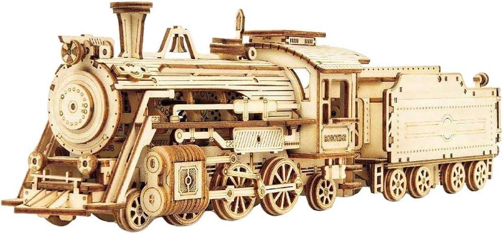 Puzzle 3D, Tren Locomotora Jeep Camión Coche de Carreras Puzzle de Madera, Ensamblar Juguete Modelo Mecánico de Bricolaje Kit de Construcción de Edificios Decoración de Escritorio Regalo Niños Adultos