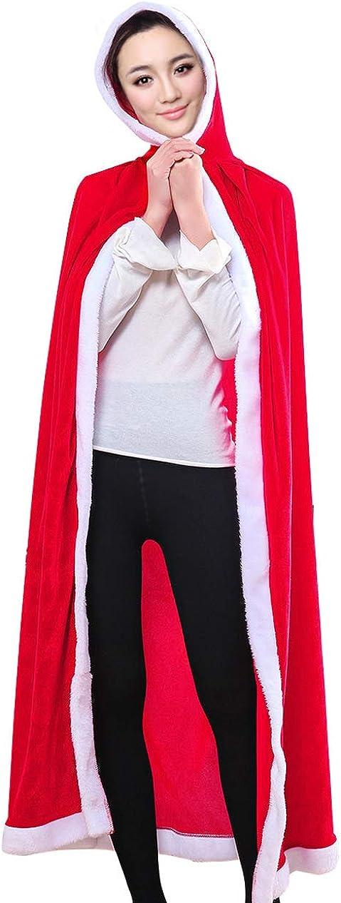 LUOWAN Disfraz de Navidad de Nicholas Disfraz de Santa Claus Ropa Capa con Capucha Terciopelo Rojo Decoraci/ón Navide/ña Fiesta Mujeres Hombres Disfraces de Fiesta de Navidad