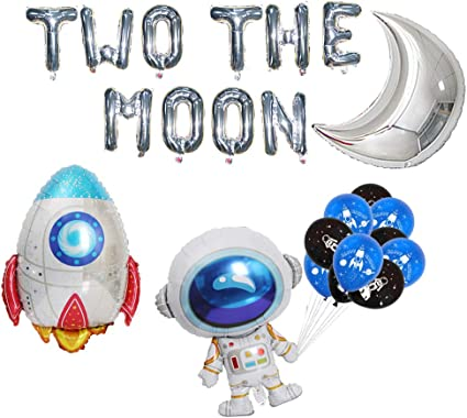 2 Space Party Games Decoration Solar System Astronaut on the Moon Birthday Party