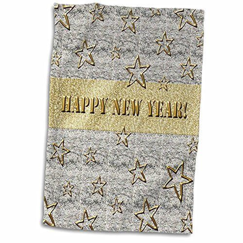 3D Rose Stars On Silver Textured Background-Happy New Year i