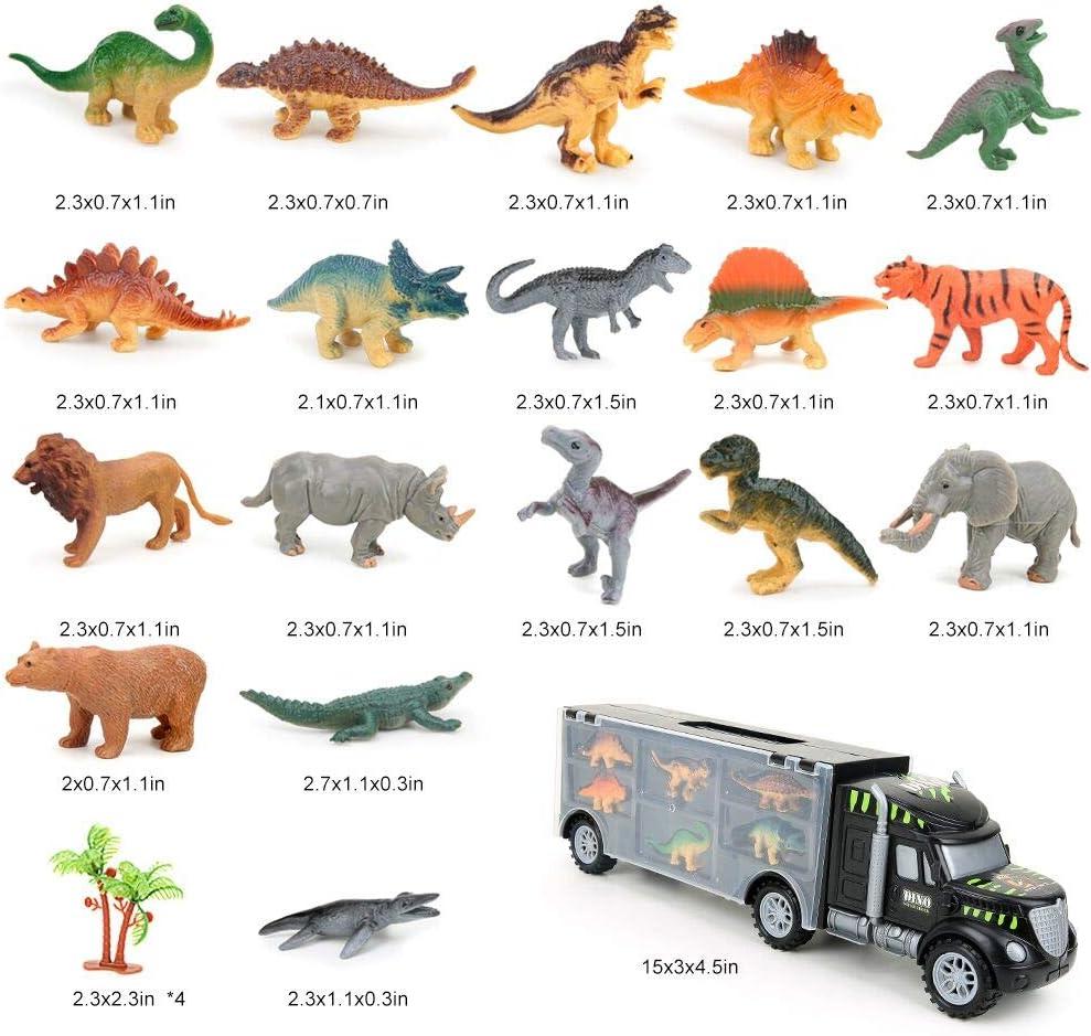 BeebeeRun Dinosauri Macchinine Giocattolo,Giocattolo per Bambini 3 4 5 6 Anni,Camion del Trasportatore con Dinosauri e Animali Giocattoli,23 PCS