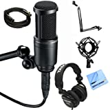 Audio-Technica AT2020 Condenser Studio Microphone with Microphone Suspension With Boom Scissor Arm, Metal Microphone Shock Mount + More (Deluxe Package)