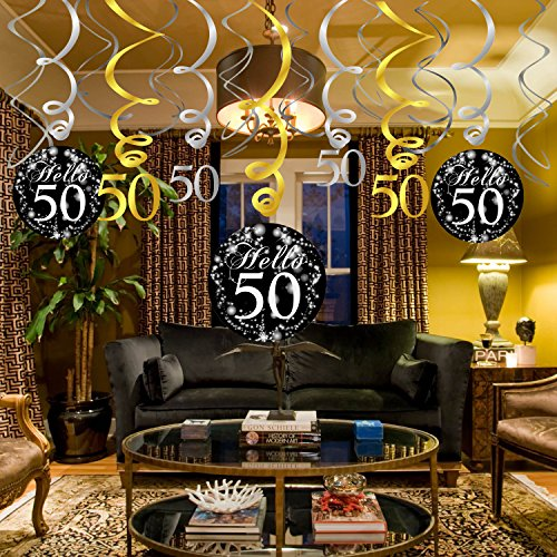 Chic 50th Birthday Decoration Konsait Hanging Swirl 15 Counts Happy