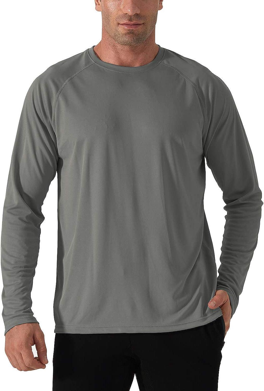 TACVASEN T-Shirt /à Manches Longues Homme Rash Guard T-Shirt de Protection Anti UV T-Shirt ExT/éRieur Protection Solaire