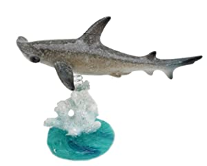 Swimming Hammerhead Shark On Glazed White Blue Coral Base Statue ~ Wiggles Jiggles Sea Creature on Coral Reef Figurine on a Spring Centerpiece Tabletop Decor (G16625) ~ We Pay Your Sales Tax