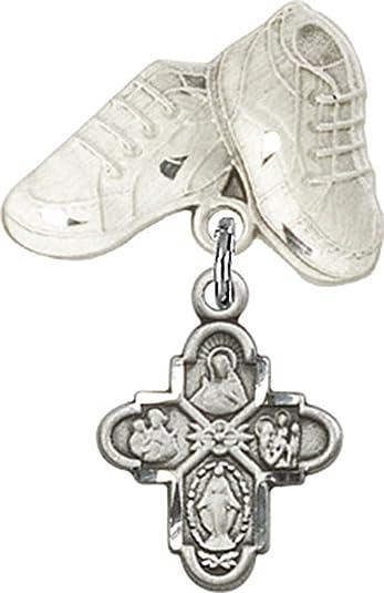 Amazon.com: Plata de ley bebé Insignia bebé botas Pin con ...