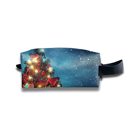 makeup cosmetic bag christmas tree night light funny pattern zip travel portable storage pouch for mens