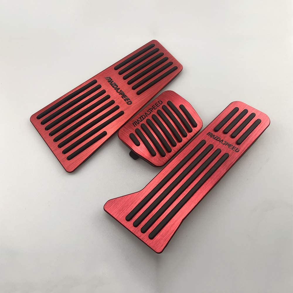 RED XITER 3PCS No Drill Anti-Slip Aluminum Foot Pedals Gas Brake Pedal Cover Foot Pedal Pads kit For Mazda 2 3 6 CX-3 CX-5 CX-9