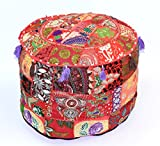 khushvin Bohemian Indian Patchwork Ottoman Red Vintage Sari Patchwork Ottoman Traditional Handmade Pouf Indian Patchwork Foot stool Ottoman 22x14