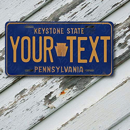 License Plate Pennsylvania Keystone State State Wave 2 Customizable 6 x 12 Aluminum Vanity License Plate