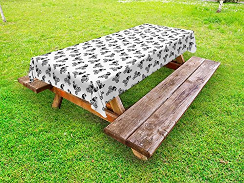 Lunarable Black and White Outdoor Tablecloth, Hipster Bear on a Bicycle Monochrome Hand Drawn Animal Illustration, Decorative Washable Picnic Table Cloth, 58 X 84 inches, Black and White by Lunarable