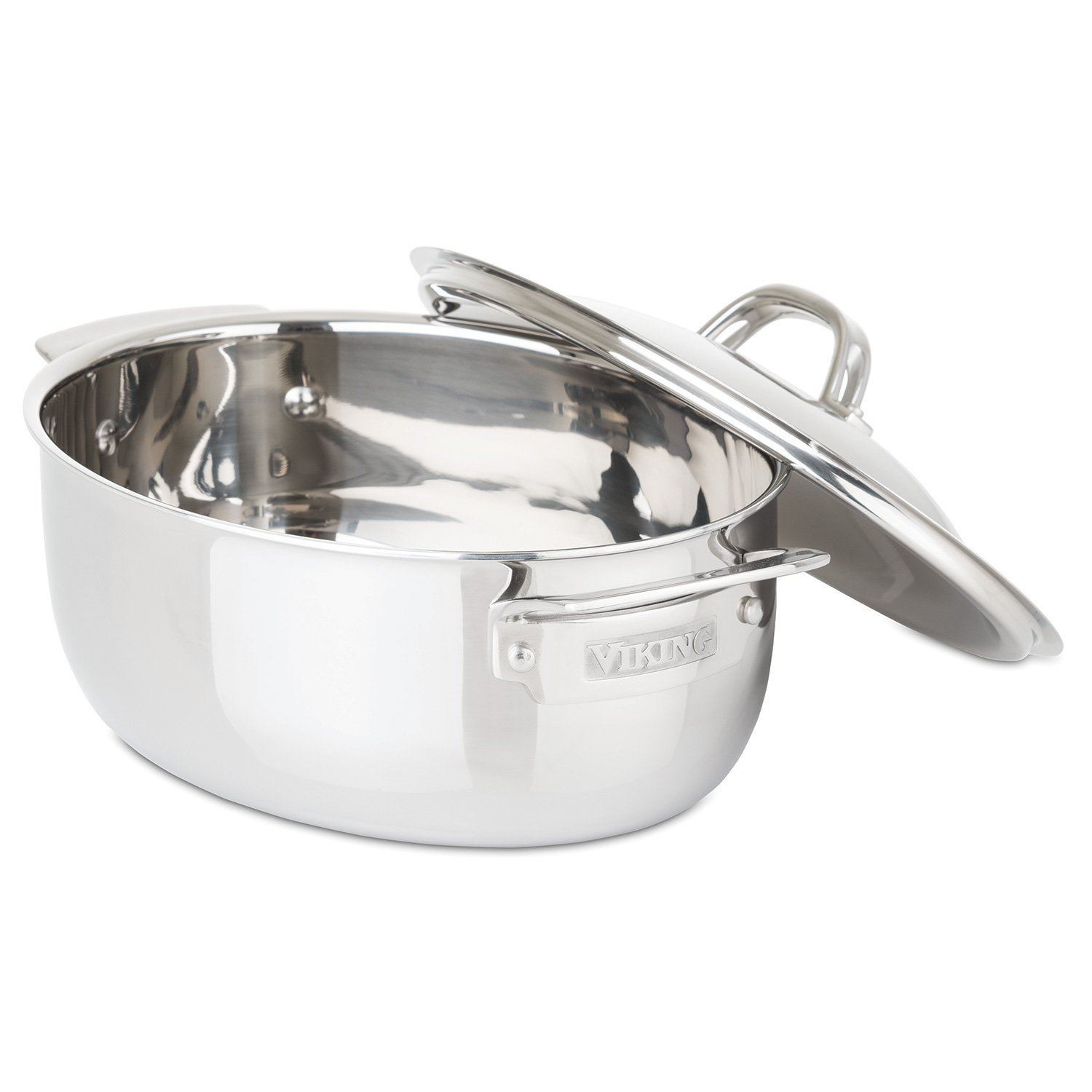 Viking 40011-0825 3-Ply Stainless Steel Oval Dutch Oven, 5.5 Quart