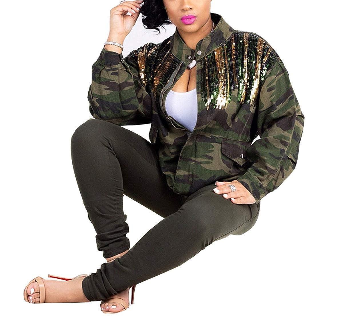 Antique Style Womens Street Fashion Military Camouflage Printed Short Coat Safari Jacket Overcoats