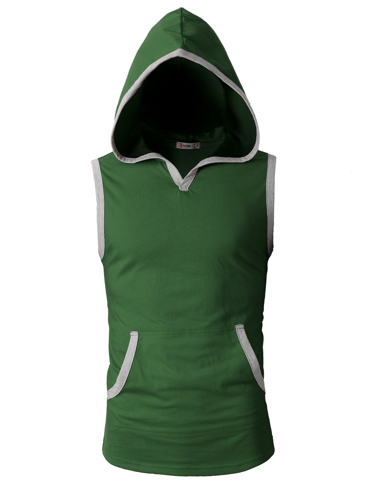 H2H Men's Casual Hooded Sleeveless Tank Tops Cotton Sleeveless T-Shirts Green US S/Asia M (CMTTK015)