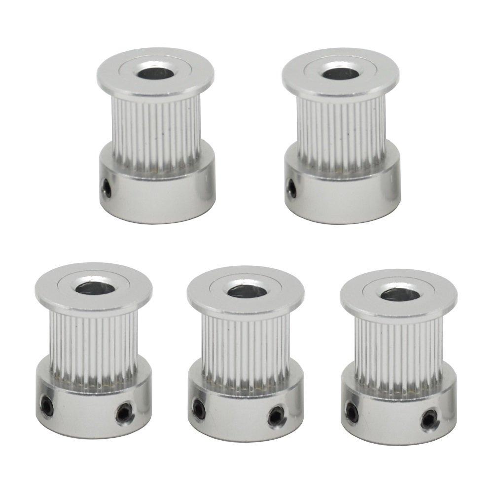 ReliaBot 5PCs Aluminum 2GT Timing Pulley 20 Teeth Bore 5mm for 3D Printer 10mm Width 2GT Timing Belt