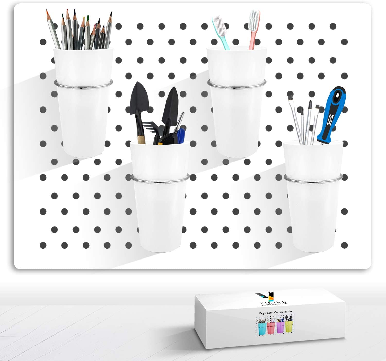 Pegboard Cup with Hooks, 4 Set Pegboard Bins Kit Storage Organizer Holder Accessories for Pegboard, Crafts, Garden, Washroom, Workshop, office desk (WHITE)