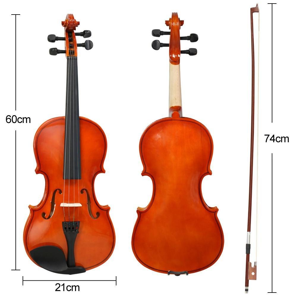 Popamazing New 4/4 Full Size Natural Acoustic Violin Set Antique Wood Violin with Bow&Rosin Cake&Bridge&Strings + Carry Case