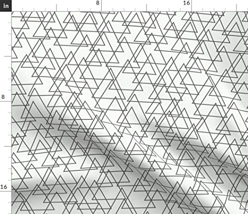 Triangle Fabric - Triangles Intertwining Triangular Geometric Design White Linen Holli Zollinger Print on Fabric by The Yard - Sport Lycra for Swimwear Performance Leggings Apparel Fashion