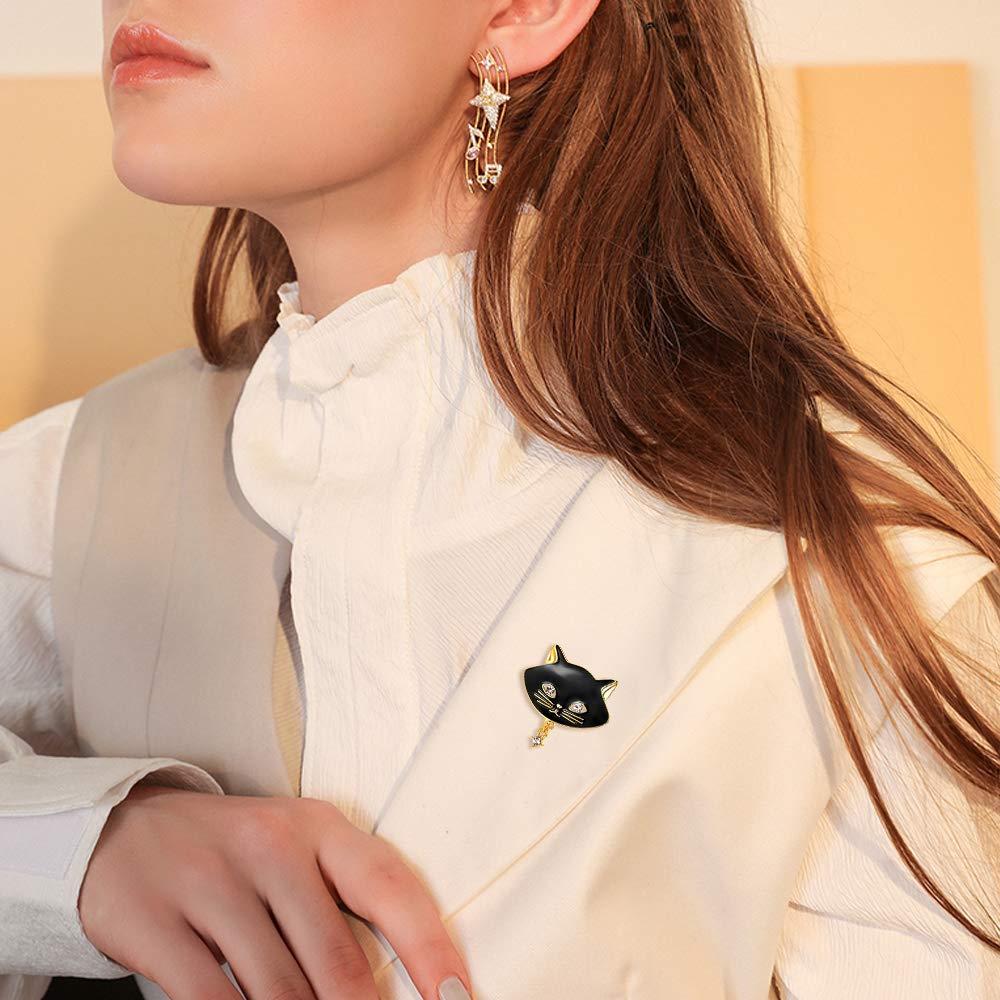 FOCALOOK Broche Chat Bijoux Femme Plaqu/é Or 18 Carats avec Fausse Perle Blanche//Strass Autrichien et /Émail Accessoire de V/êtement Robe de Soir/ée Bo/îte Cadeau Offerte