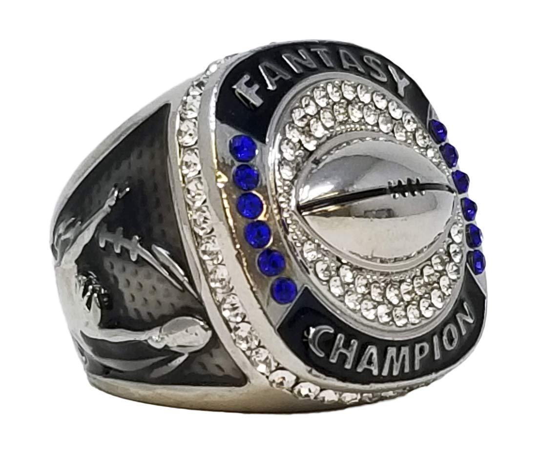 Decade Awards Silver Fantasy Football Champion Ring, Style B - Heavy FFL League Champ Ring with Stand (9) by Decade Awards