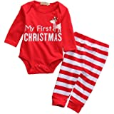 Baby Boys Chritmas 2piece Set Girls Climb Clothes Shirt Pants Pajama