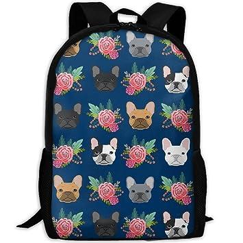 Juego de Mochila Escolar para niños, Bolsas Escolares Personalizadas, Flores de Bulldog francés: Amazon.es: Electrónica