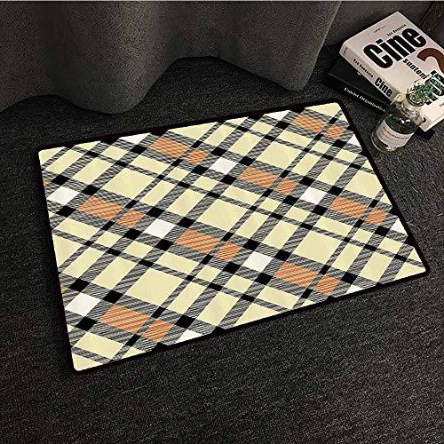 Geometric Decor Modern Door mat Abstract Striped Design Retro Tartan Plaid Fabric Textile Pattern Print with Anti-Slip Support W24 xL35 Black Orange
