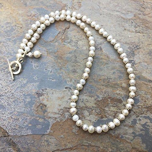 Hill Tribe Silver Artisan Necklace - Artisan Pearl Necklace with Hill Tribe silver