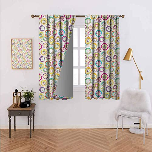 Abstract Darkening Curtains for Living Room Pattern with Circles and Dots Bubble Rings Spotted Springtime Enjoyment Theme Window Drapes for Bedroom Grommet Top for Living Room 72 Wx84 L Multicolor