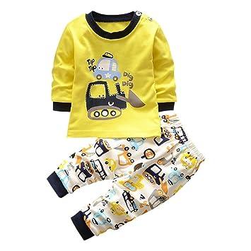 5aafdbe706023 Domybest ベビー服 上下セット 男の子 長袖 Tシャツ ズボン 春 秋 黄色 幼児 キッズ 2点
