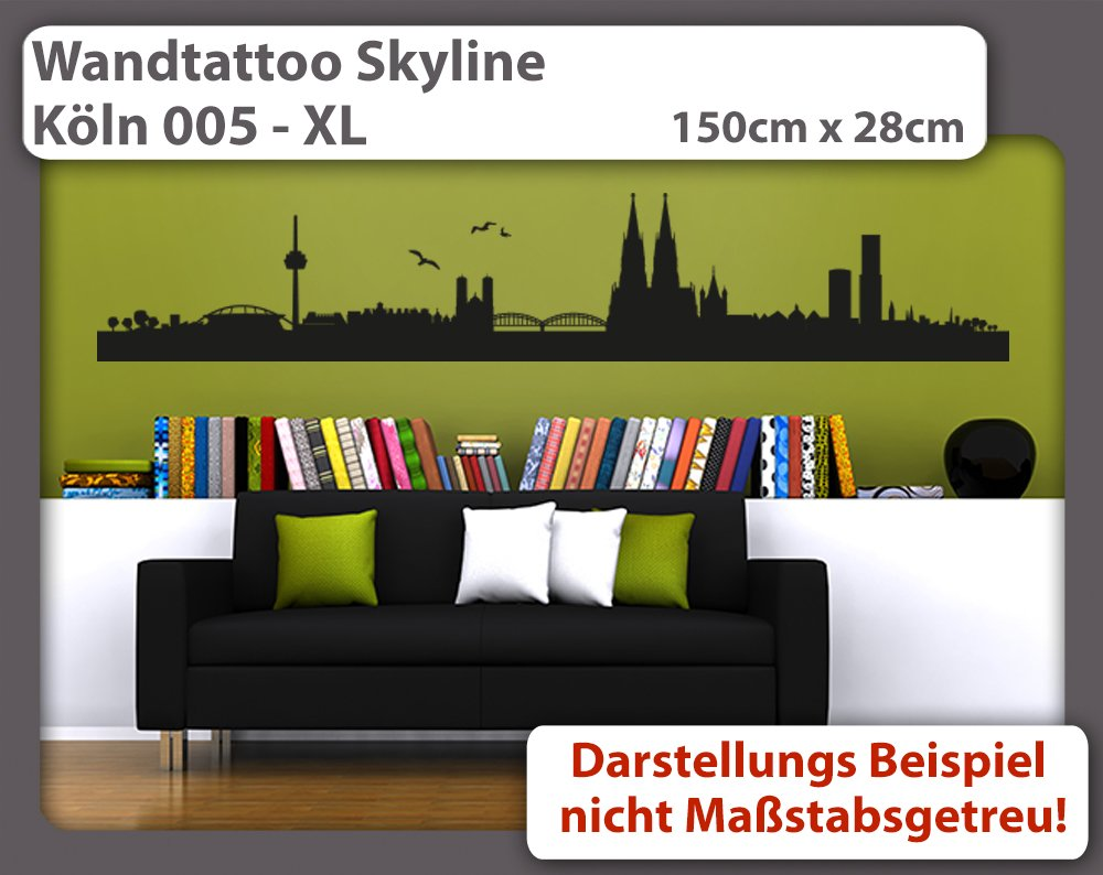 Wundervoll Wandtattoo Köln Ideen Von Skyline Köln 005 - Größe: Xl -