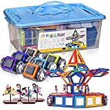 ArtCreativity Mega Magnetic Tiles Building Blocks Set (125-Piece)   Kids' Magnet Toy Carnival Construction Kit   Over 80 Shapes, Wheels, Remote Control, Storage Box and More   Educational STEM Toy