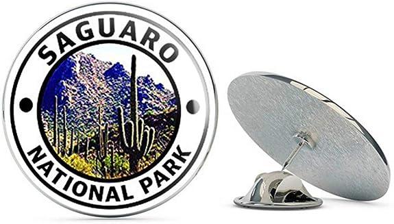 Metal 0.75 Lapel Hat Pin Tie Tack Pinback Hike Travel rv NYC Jewelers Round Saguaro National Park