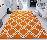 Modern Rug Calipso Orange 5'X7′ Lattice Trellis Accent Area Rug Entry Way Bright Kids Room Kitchn Bedroom Carpet Bathroom Soft Durable Area Rug For Sale
